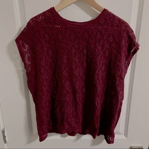 Old Navy Large Maroon Lace T-shirt